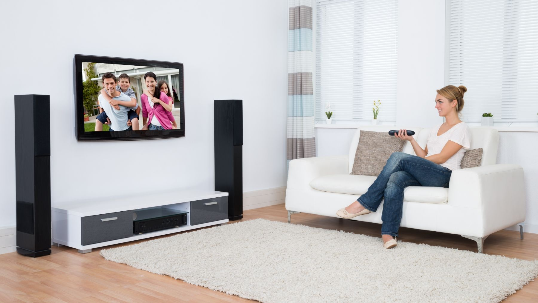 a simple guide to the optimal tv height for large screens. Black Bedroom Furniture Sets. Home Design Ideas