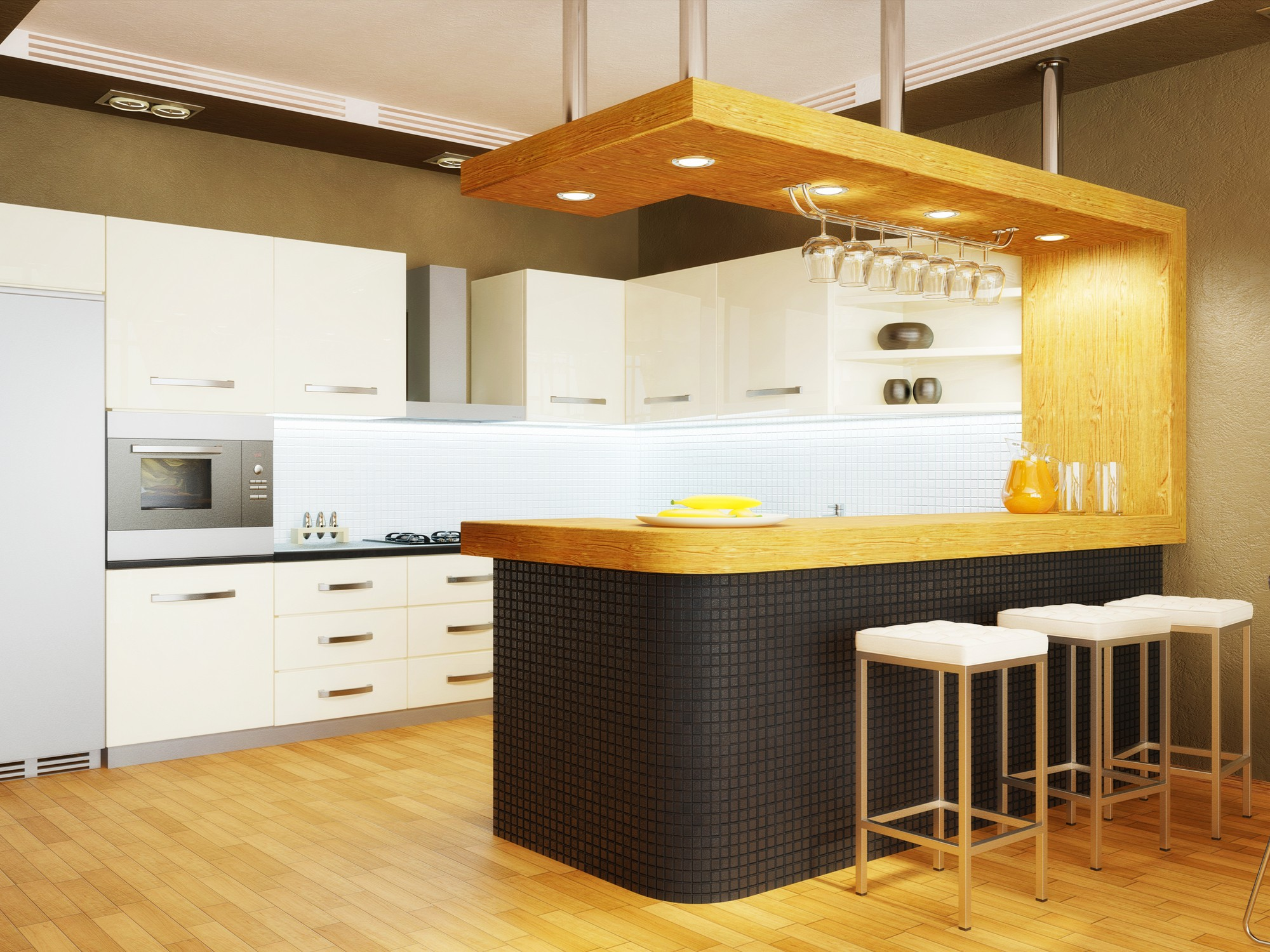 Modern interior kitchen with nice furniture inside