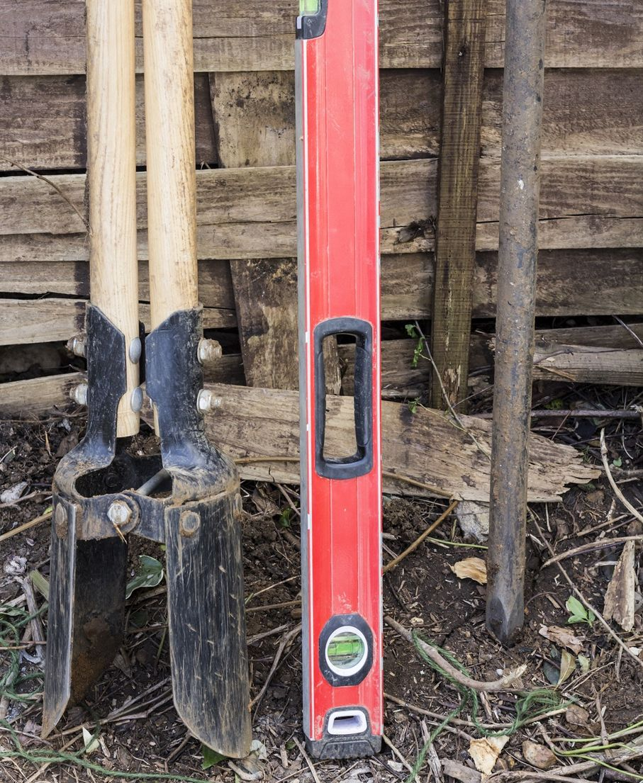 A selection of tools for fence construction