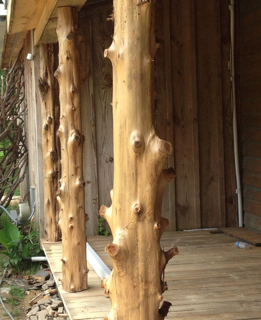 Cedar Logs Make Excellent Porch Posts Here Is How It Is Done