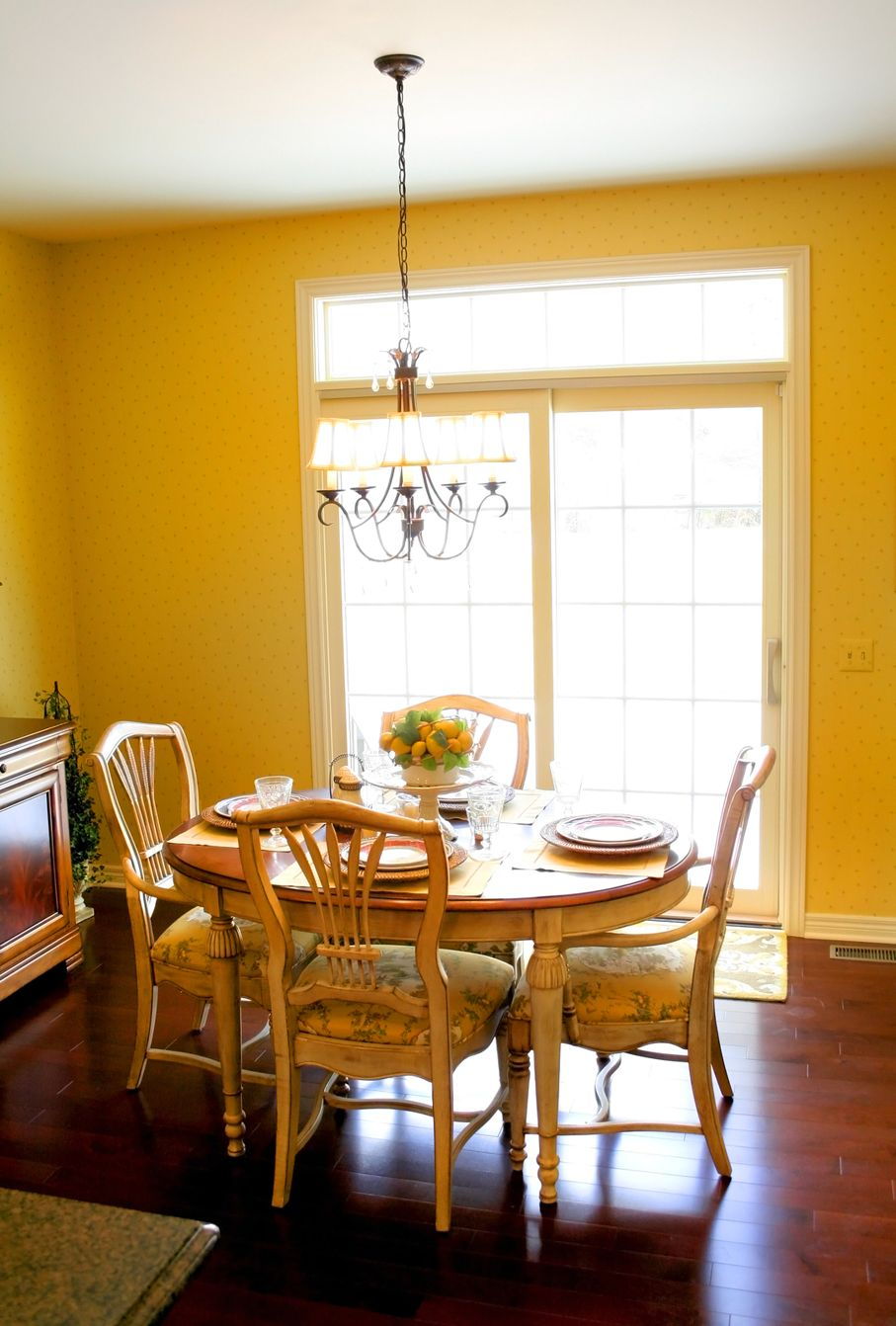 Breakfast table in bright colored house nook area
