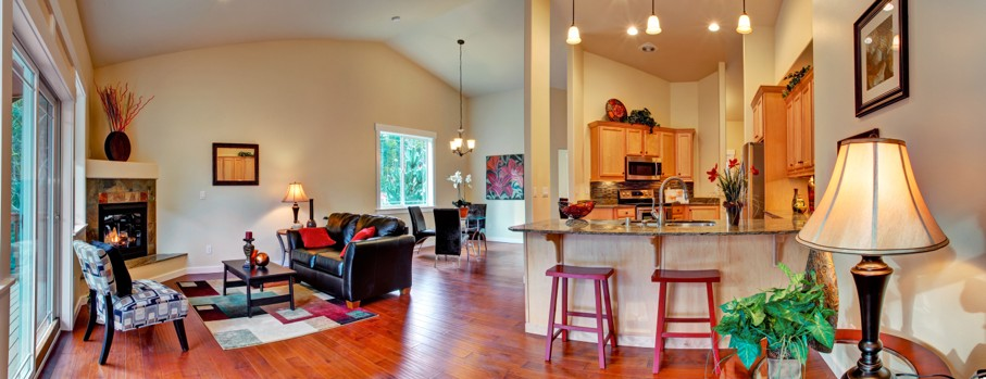 House interior. Open floor plan panoramic view