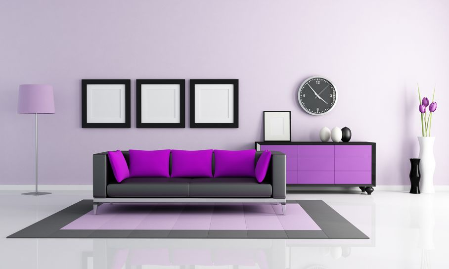 Contemporary purple and lilla living room