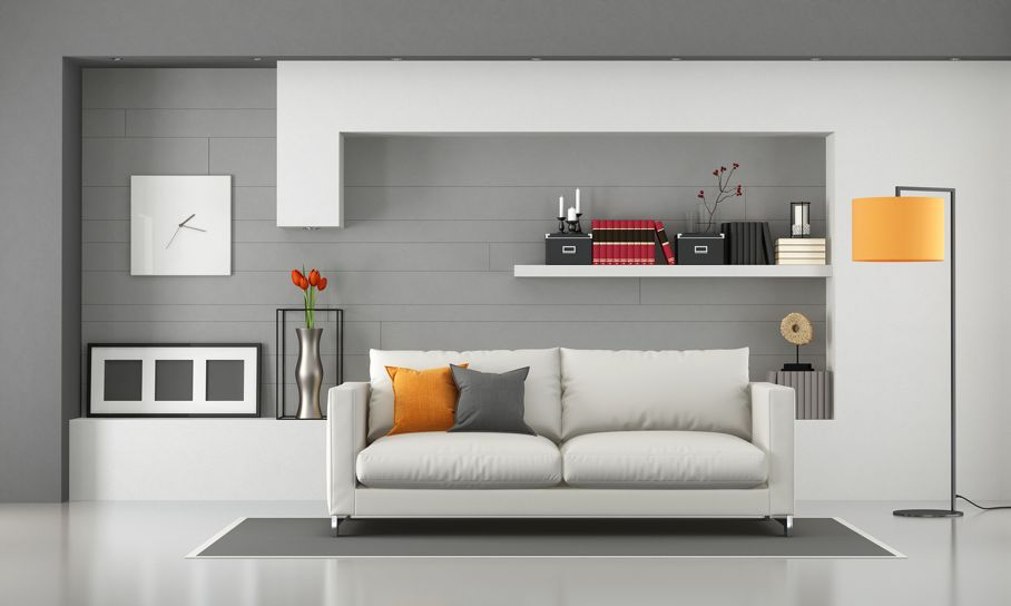Minimalist living room with modern sofa and shelves