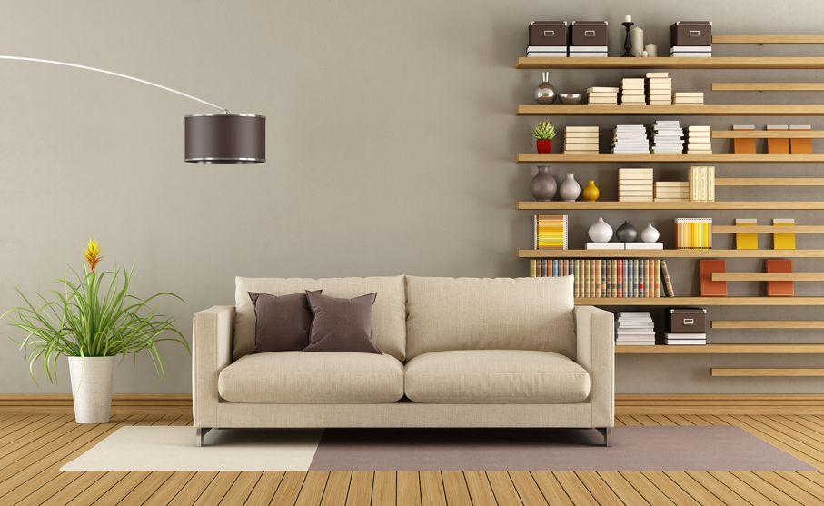 Contemporary living room with sofa and minimalist bookcase