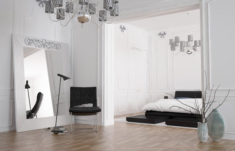 Zapisz Podgląd pobierania Minimalist spacious bedroom interior with large mirror standing against the wall reflecting the room and a double bed in a recessed alcove, chandelier and parquet floor