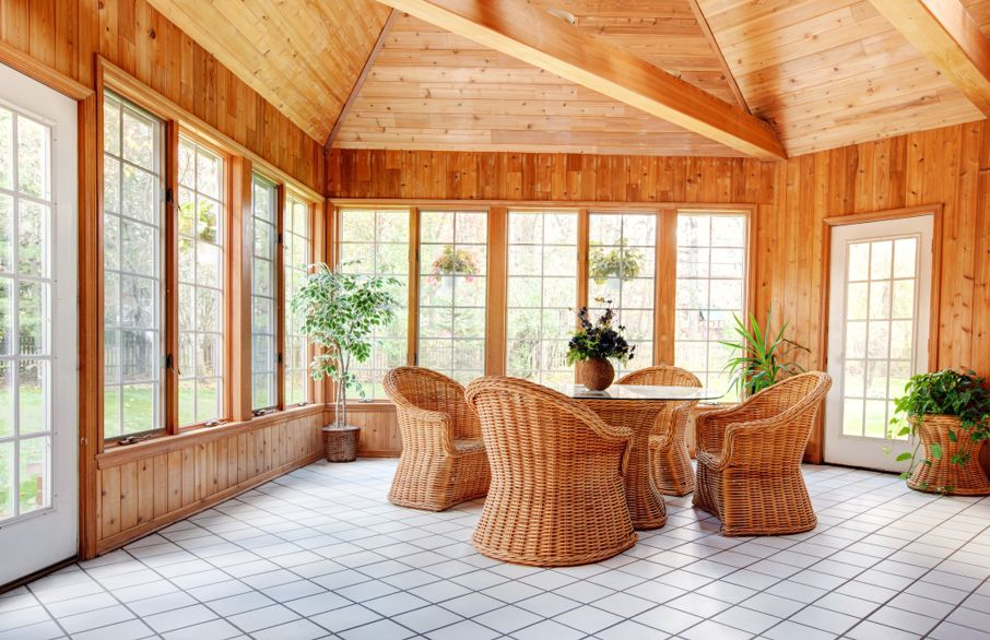 Sun Room Interior with Ceramic Tile floor.