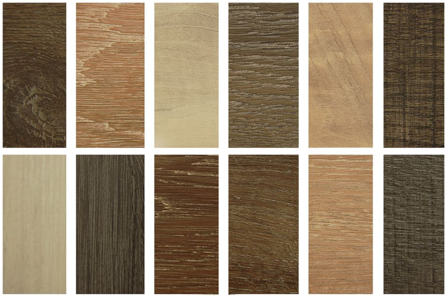 Wood texture floor in frames, Samples of laminate and vinyl flooring