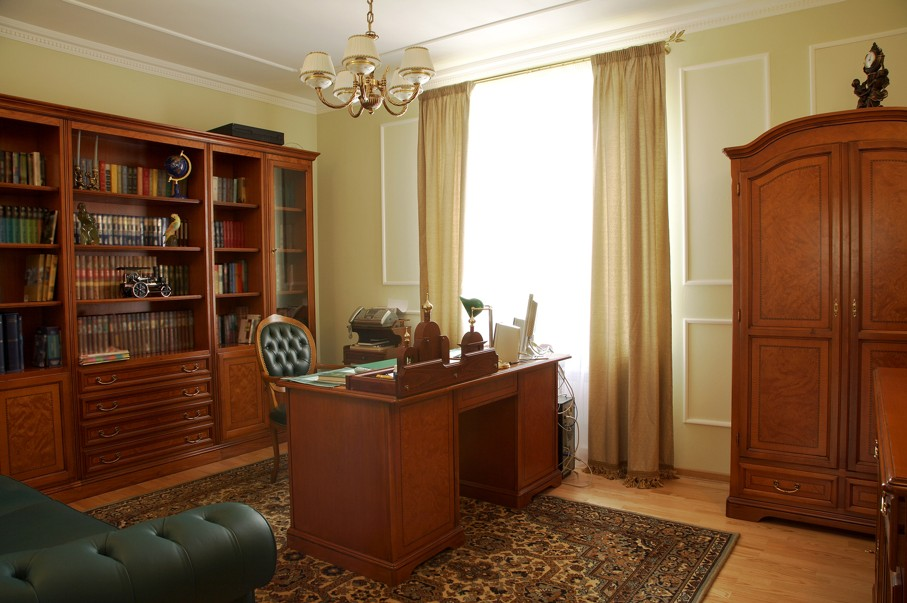 Bookcase table and chair in a cabinet