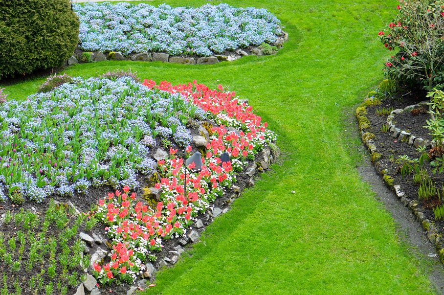 Flower beds in the Spring with Lush colors