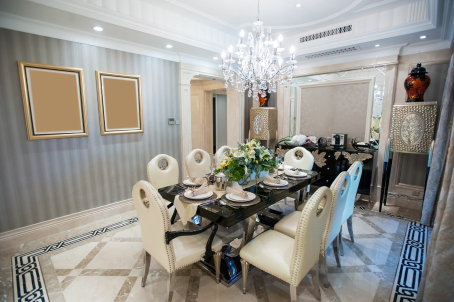 Beautiful dining room with Chandelier in a mansion