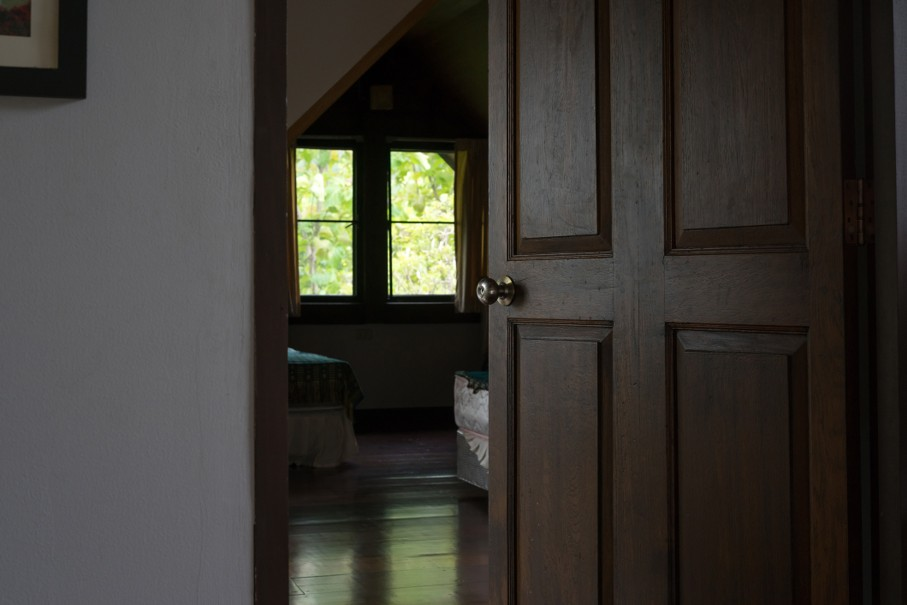 Open bedroom wooden door