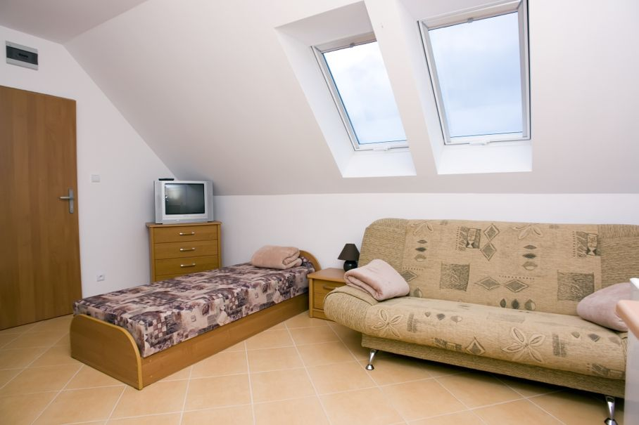 Spacious attic bedroom with pitched roof and skylight windows