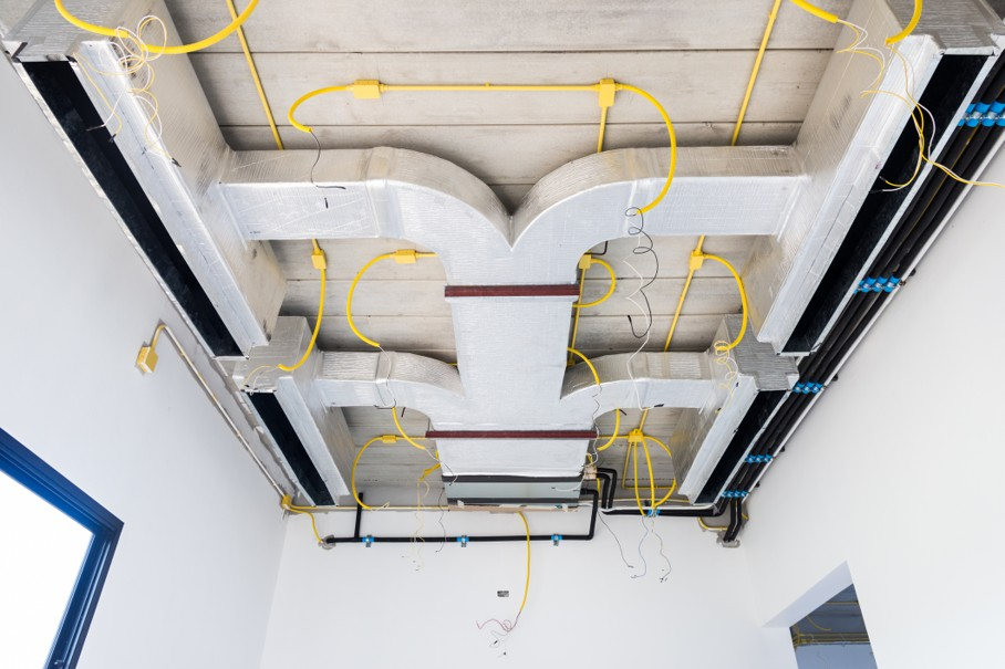 Air conditioner installation system Building in house under roof