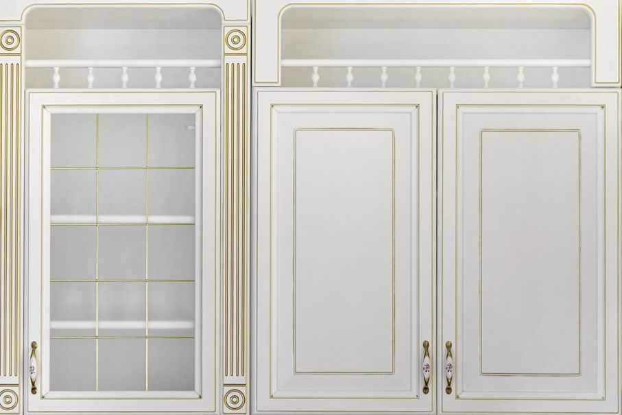 Modern White Luxury Kitchen Wall Units With Golden Decorative Elements And Glass Matte Door