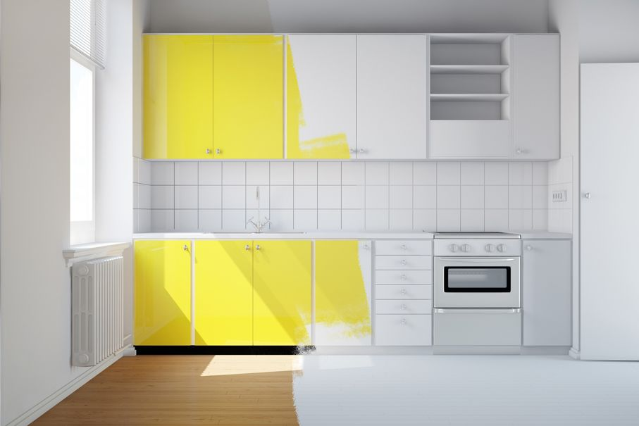 Renovation of a small kitchen from white to yellow