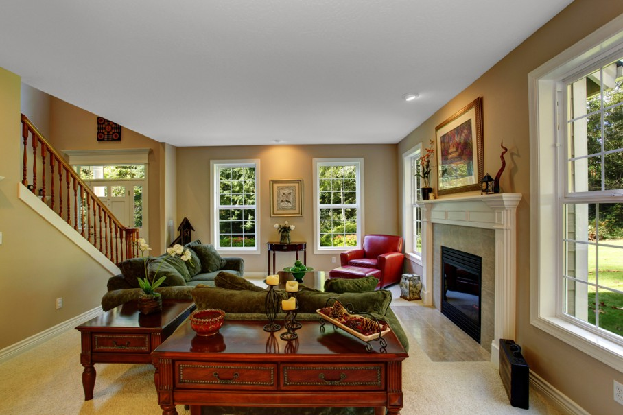 Cozy living room interior with fireplace
