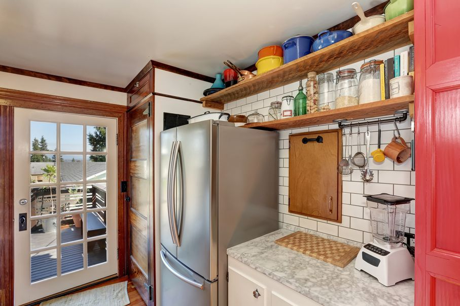 Old style kitchen interior. Wooden shelves