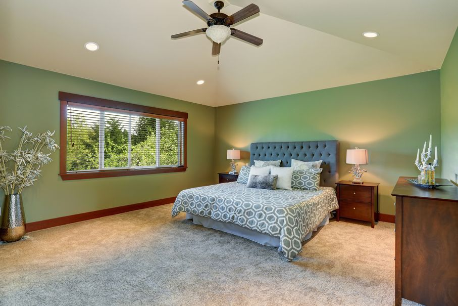 Cozy bedroom with blue bed buttons headboard beige carpet and green walls