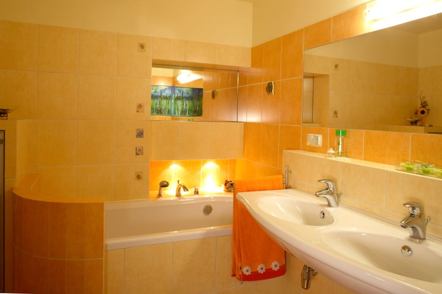 Orange bathroom interior