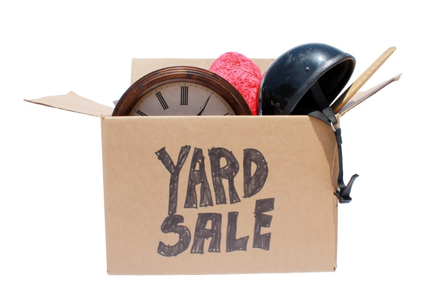 A Genuine Box of used items ready for a garage sale, Yard Sale, Auction, or donation to a charitable organization
