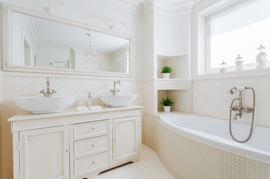 Elegant bathroom with white fittings