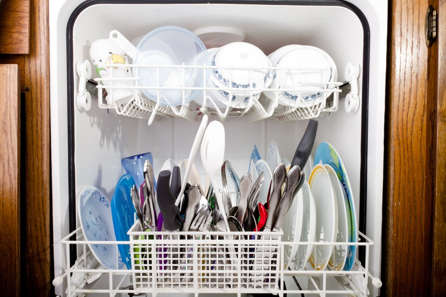 View of the open dishwasher