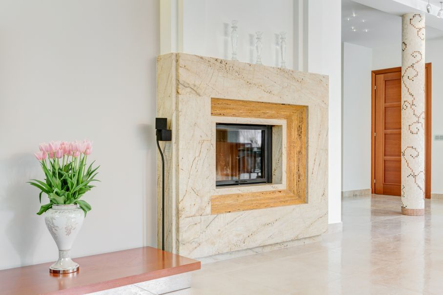 Marble fireplace in lounge