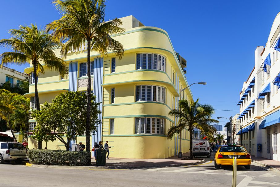 Ocean drive buildings in Miami Beach Florid