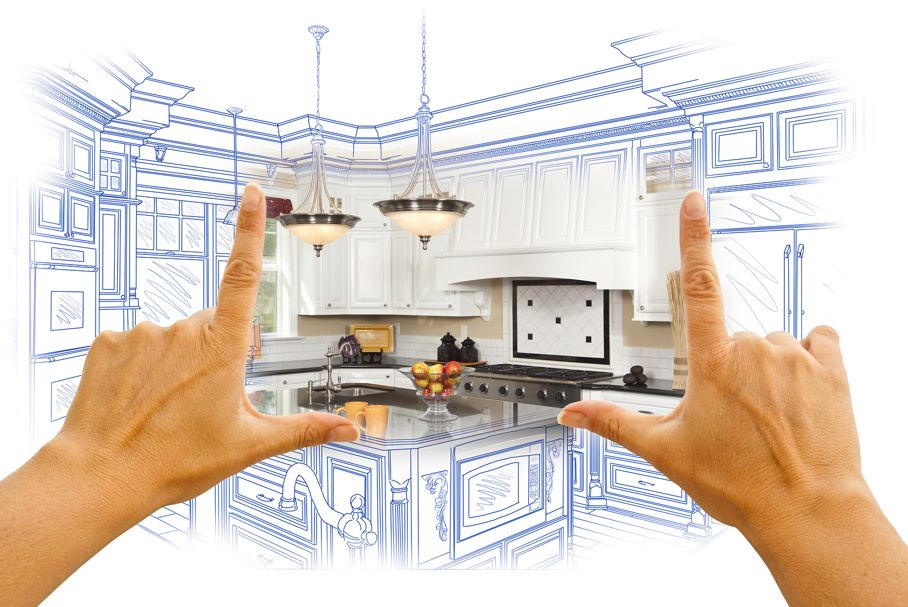 Female Hands Framing Custom Kitchen Design Drawing
