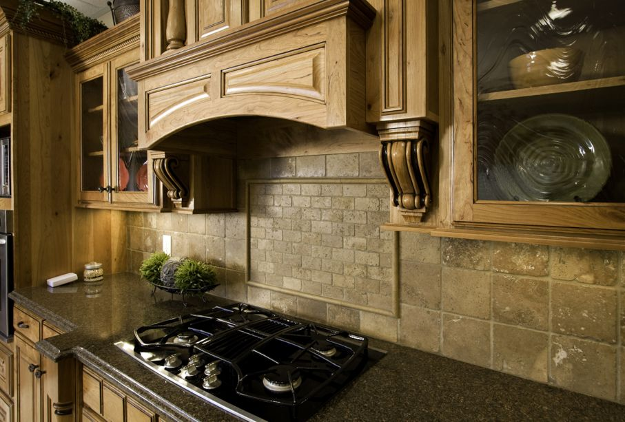 Wooden corbels in kitchen