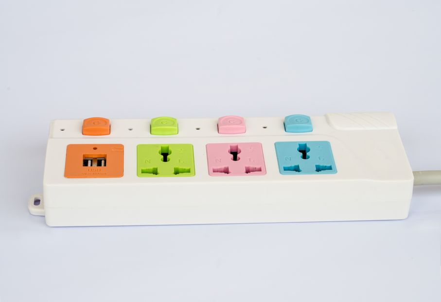 The power strip with colorful socket and usb socket