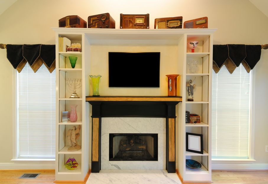 Fire place with shelving in a modern home
