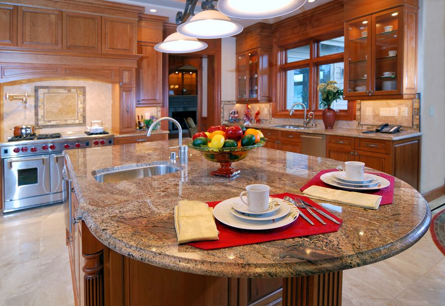 Close up of granite Kitchen counter with breakfast plates