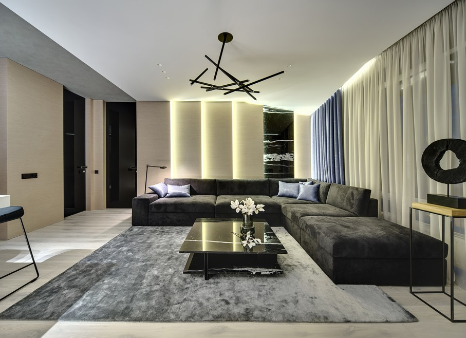 Room in a modern style with wooden walls with a marble part