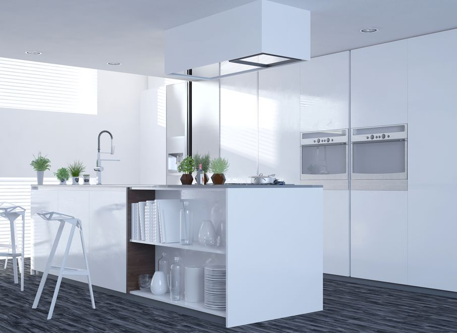 Modern clean white kitchen interior with an open-plan design