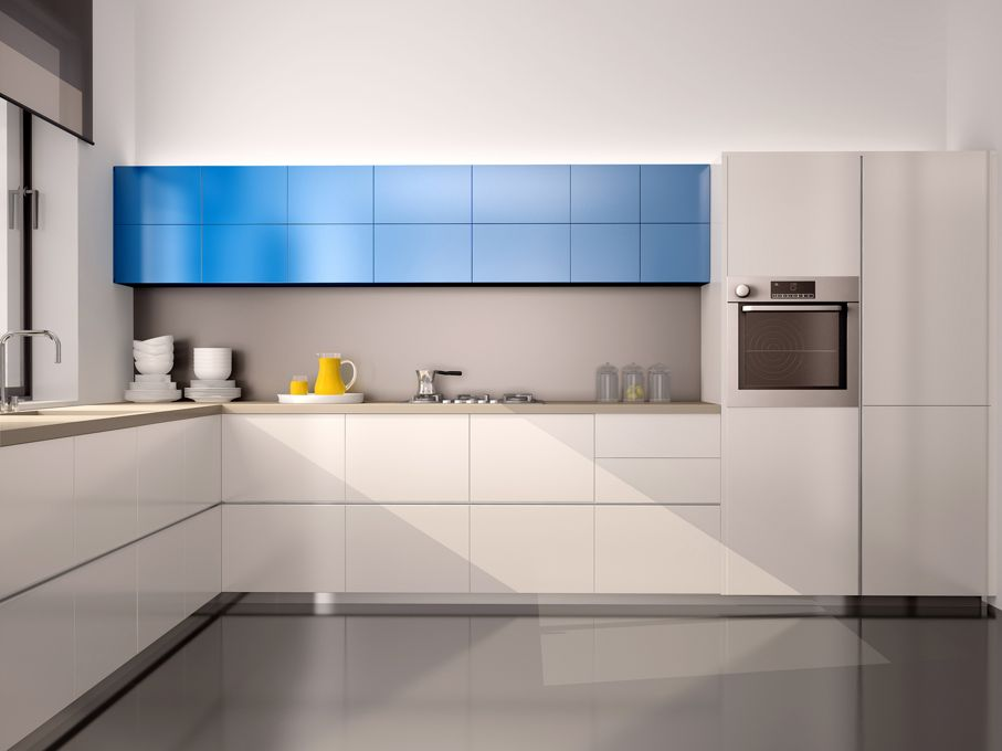 Interior of modern kitchen in white blue gray tones