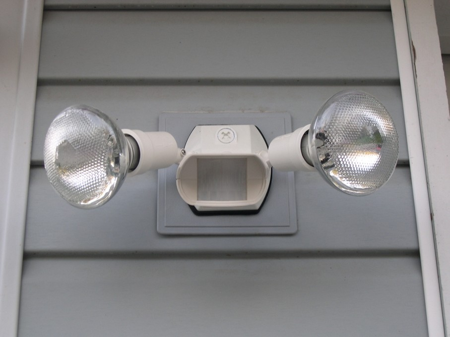 A set of security motion detector lights