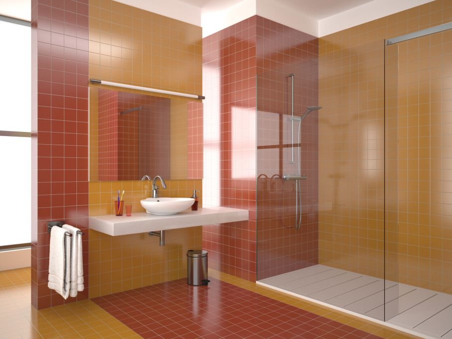 Modern bathroom with red and orange tiles