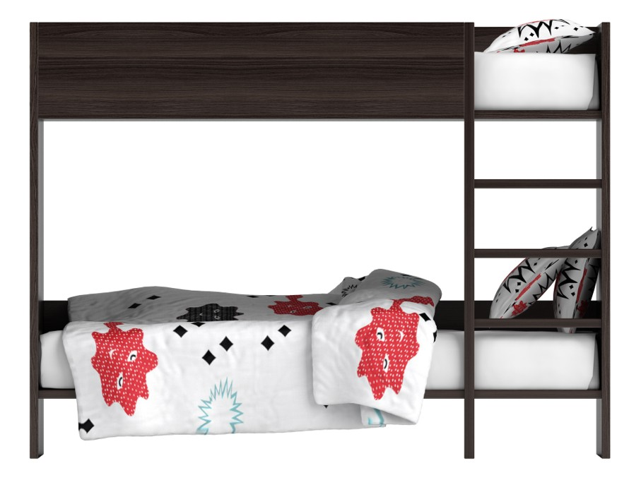 Modern black double bunk bed with colourful bedding with geometric patterns