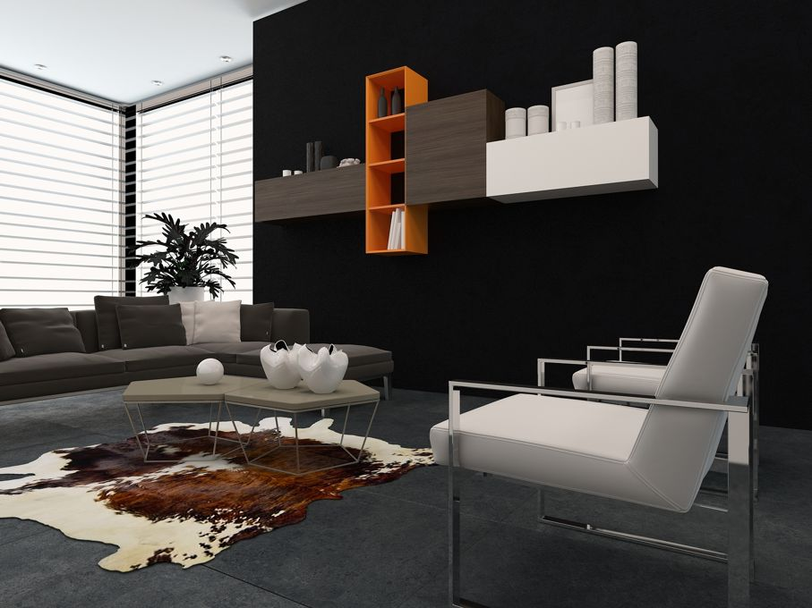 Modern lounge with modular unit on a wall