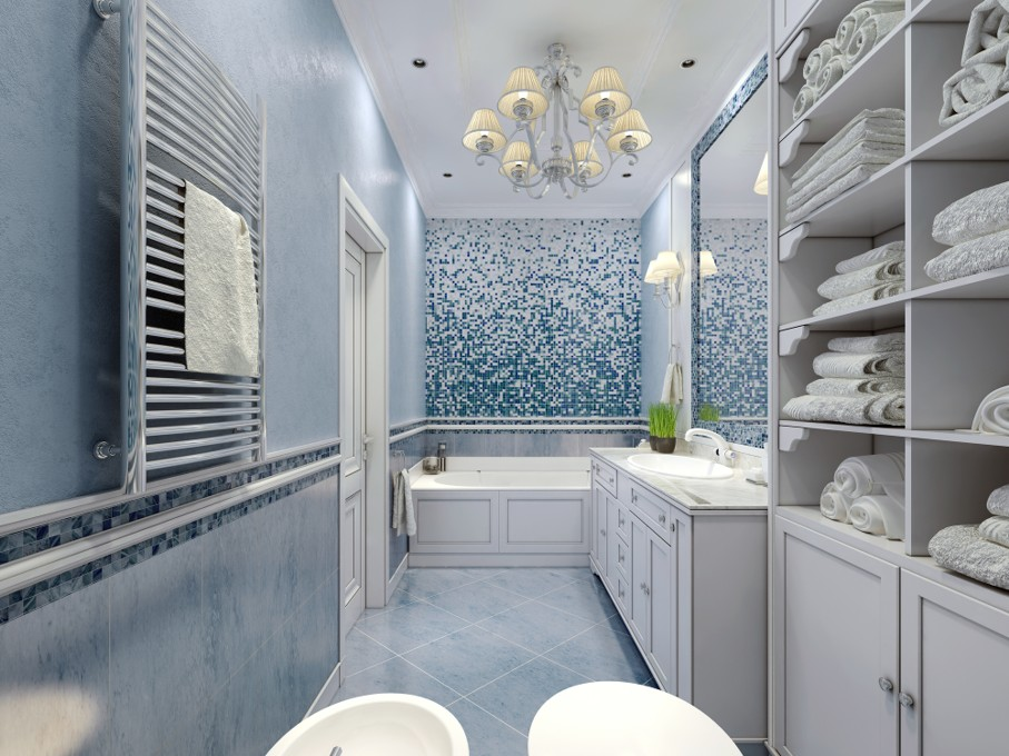 Spacious blue bathroom