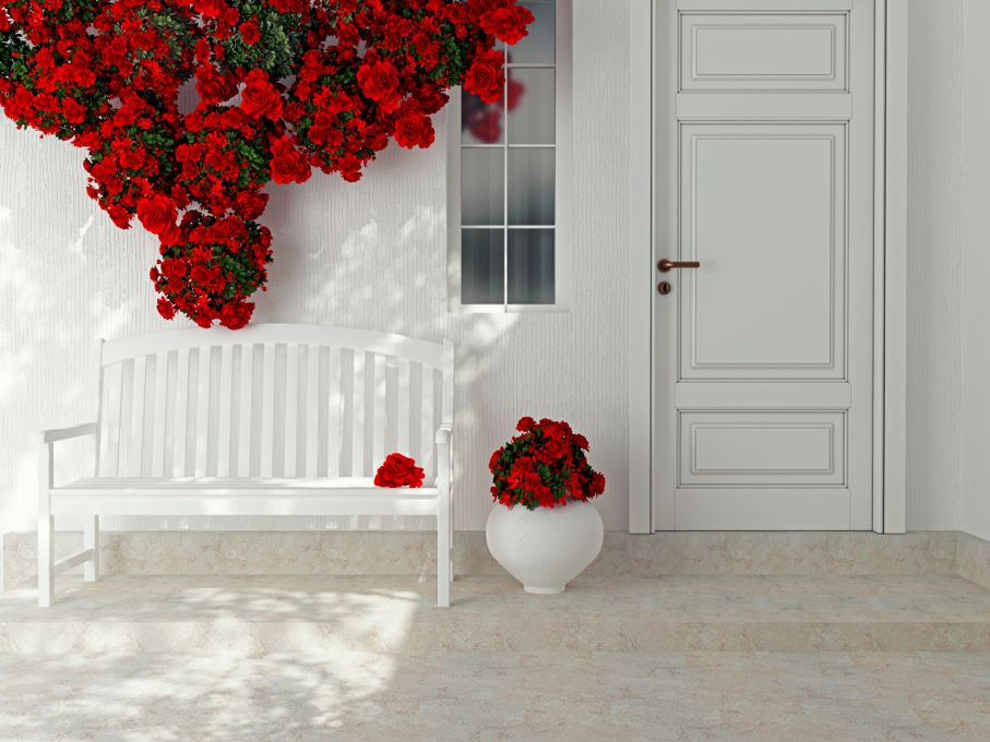 Front view of a wooden white door. Beautiful red roses and bench on the porch. Exterior of a house