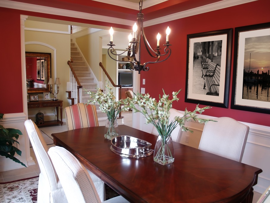 Well decorated formal dining room in a luxury home