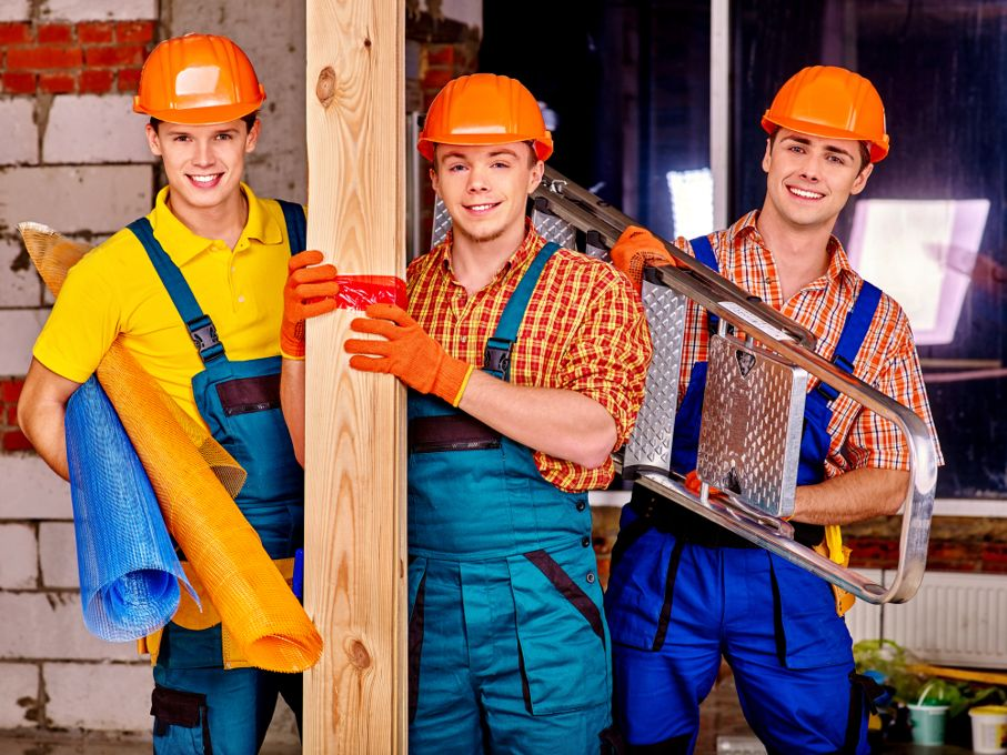 Men in builder uniform