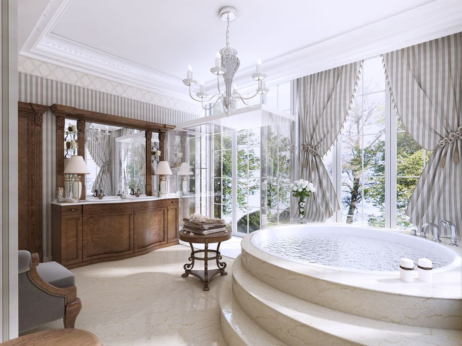 Luxury bathroom in classic style. Bathroom with Jacuzzi shower and bathroom furniture