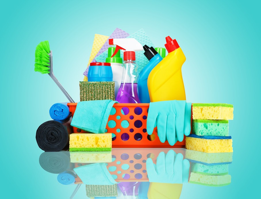 Cleaning supplies in a basket