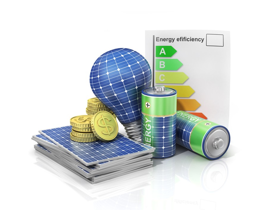 Concept of saving money if use solar energy