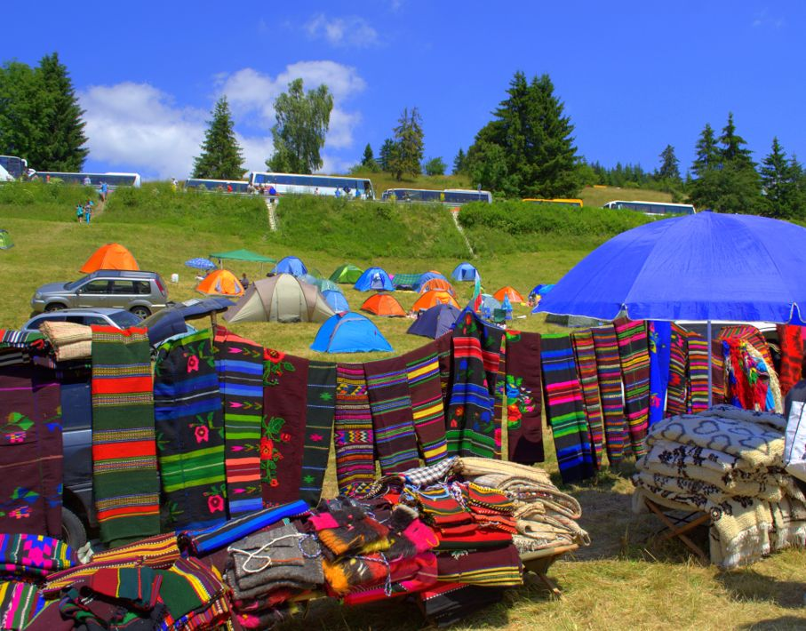 Picturesque colorful rugs openair stall