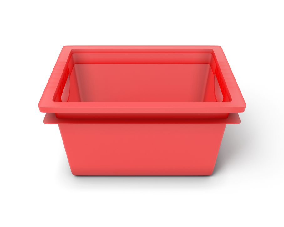 Red plastic box for toys
